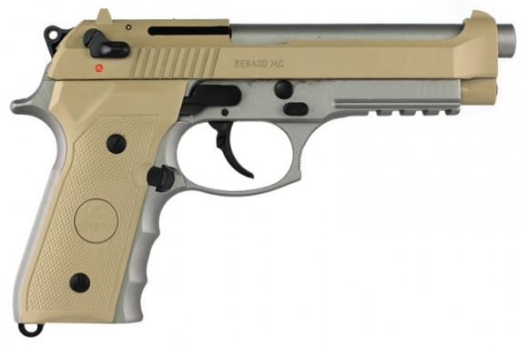 Picture of Girsan Regard MC DA/SA Semi-Auto Pistol - 9x19mm Parabellum, 125mm, Two-Tone Desert Sand/Stainless, 2x10rds, w/Rail