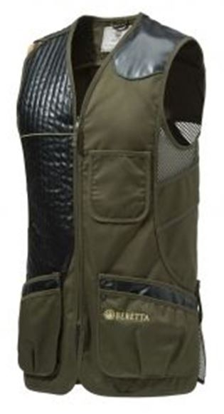 Picture of Beretta Men's Clothing, Vests - Eco Leather Sporting Vest, Adult, Dark Olive, 2XL