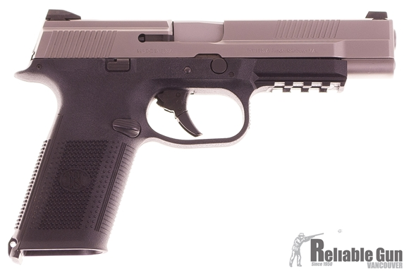 """Picture of Used FN Herstal (FNH) FNS-9 Long Slide Double Action Semi-Auto Pistol - 9mm, 5""""l, Matte Silver Stainless Steel Slide, Black Polymer Frame, 3x10rds, Fixed 3-Dot Sights, Origonal Case, Excellent Condition"""