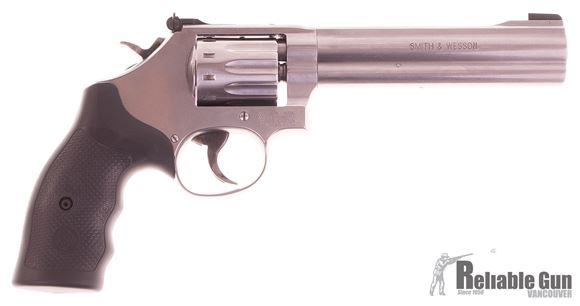 "Picture of Used Smith & Wesson (S&W) Model 617-6 Rimfire DA/SA Revolver - 22 LR, 6"", Satin Stainless Steel Frame & Cylinder, Medium Frame (K), Synthetic Grip, 10rds, Original Box,  Excellent Condition"