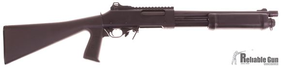 "Picture of Used Brixia (Valtro) PM5 Pump Action Shotgun - 12Ga, 3"", 14"", Matte Black, Plastic Fixed Pistol Grip Stock, 1 Magazine, Ghost Ring Sights Very Good Condition"