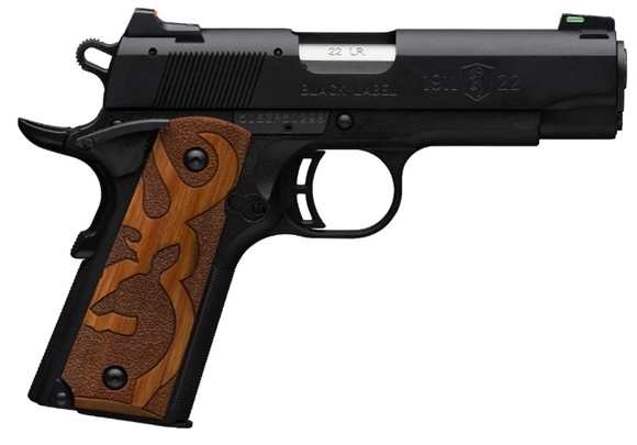 "Picture of Browning 1911-22 Black Label Rimfire Single Action Semi-Auto Pistol - 22 LR, 4.25"", Matte Black Aluminium Alloy Slide, Matte Black Composite Frame, Brown Logo Grip Panels, 2x10rds, Fiber Optic Sights"
