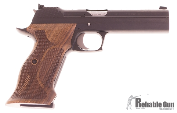 Picture of  Used SIG SAUER P210 Super Target Single Action Semi-Auto Pistol - 9mm, 5'', PVD Coating, Ergonomic Wood Grips, 2x8rds Magazines, Micrometer Sight, Original Box, Excellent Condition