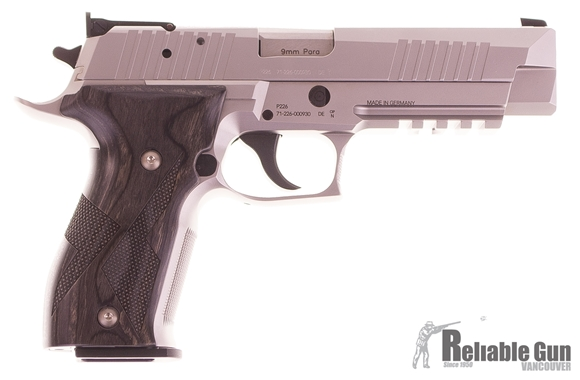 "Picture of Used SIG SAUER P226 X-Five Allround DA/SA Semi-Auto Pistol - 9mm, 5.0"", Stainless, Black Laminate Grips, 2x10rds, AdjustableTarget Sight, Beavertail, Original Box, New Condition"