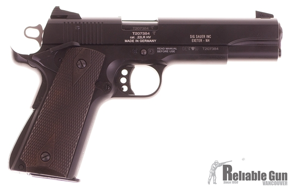 Picture of Used Sig Sauer 1911-22 Semi-Auto 22LR, Black w/Wood Grips, 2 Mags & Original Case, Excellent Condition