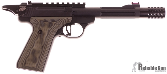 """Picture of Used Browning Buck Mark Custom Tactical Solutions Rimfire Semi-Auto Pistol - 22 LR, 5-1/2""""  Tactical Solutions Fluted Barrel w/Muzzle Brake, Matte Black Aluminum Alloy Receiver, Laminate G10 Grips,TruGlo Fiber Optic Front & Pro-Target Rear Sights, Rail,"""