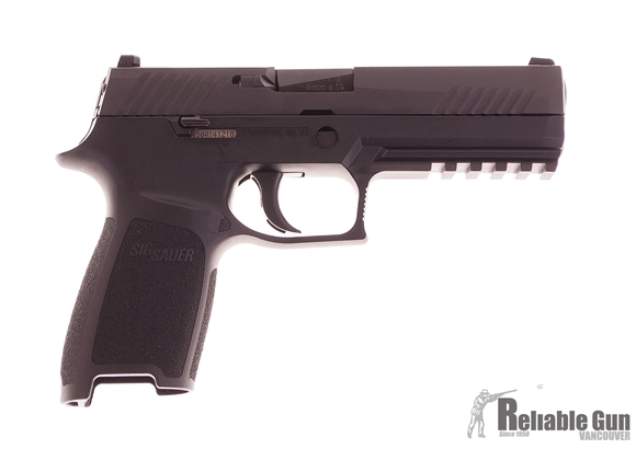 """Picture of Used SIG SAUER P320 Striker Action Semi-Auto Pistol - 9mm, 4.7"""", Black Polymer Grip, 2 Magazines, 3 Dot Sights, Original Box, Excellent Condition"""