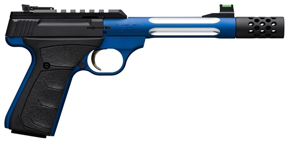 "Picture of Browning Buck Mark Lite Plus Competition Blue Flute Rimfire Semi-Auto Pistol - 22 LR, 5-9/10"", Blue Alloy Receiver, Steel Barrel w/ Fluted Alloy Sleeve, Suppressor Ready w/ Muzzle Brake, Ultragrip FX Black Rubber Overmolded Grip, 10rds, Fiber Optic Front"