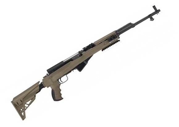 "Picture of Surplus SKS Semi-Auto Rifle - 7.62x39mm, 20"", Blued, With ATI Strikeforce Stock Installed, 5rds, Post Front & Adjustable Rear Sights, Refurbished, FDE"