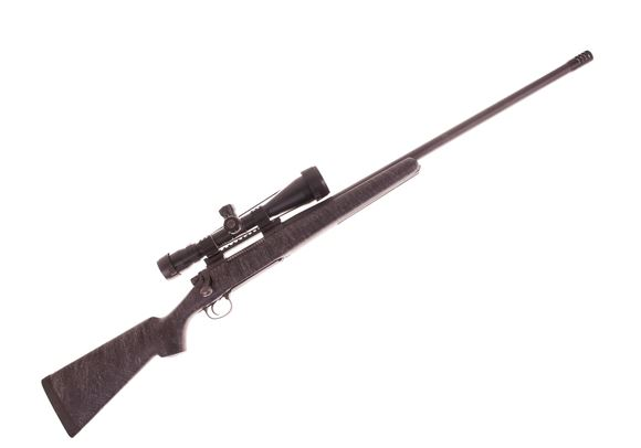 Picture of Used Remington 700 Custom Bolt Action Rifle, 7mm Rem mag, 26'' Heavy Barrel, w/Muzzle Brake, HS Stock, Oversize Recoil Lug, Bushnell Elite 6500 Tactical 4.5-30x 50 Mil Dot Scope, EGW Base, Burris Tactical Rings, Good Condition
