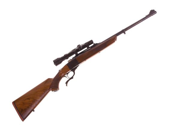 "Picture of Used Ruger No 1 Single-Shot 45-70, 22"" Barrel w/Sights, Walnut Stock, With Redfield 1-4 Scope, Excellent Condition"