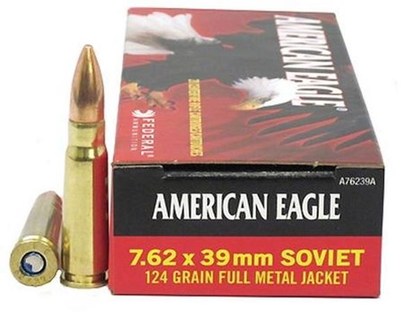 Picture of Federal American Eagle Rifle Ammo - 7.62x39mm Soviet, 124Gr, FMJ, 500rds Case