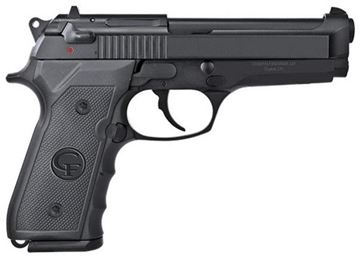 "Picture of Girsan Regard MC DA/SA Semi-Auto Pistol - 9mm, 5"", Black, Plastic Checkered Grips, Front Finger Grooves, Lanyard Hole, Ambidextrous Safety, White Dot Sights, 2x10rds"