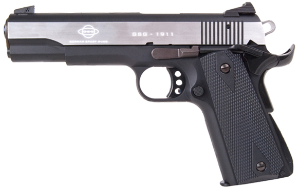"Picture of German Sport Guns (GSG) 1911 Stainless Rimfire Single Action Semi-Auto Pistol - 22 LR, 5"", Silver/Black Alloy Slide, Black Plastic Grips, 10rds"