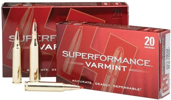 Picture of Hornady Superformance Varmint Rifle Ammo - 22-250, 50Gr, V-Max Superformance, 20rds Box