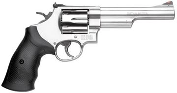 """Picture of Smith & Wesson (S&W) Model 629-6 DA/SA Revolver - 44 Rem Mag, 6"""", Satin Stainless Steel Frame & Cylinder, Large Frame (N), Rubber Grip, 6rds, Red Ramp Front & Adjustable White Outline Rear Sights"""