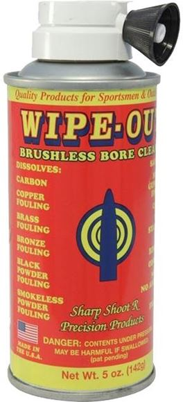 Picture of Sharp Shoot-R Precision Bore Cleaners For Smokeless Powder - Wipe-Out Brushless Bore Cleaner, Aerosol, 5oz Can
