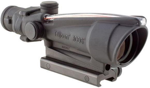 Picture of Trijicon Magnified Optics, ACOG - 3.5x35mm, TA11F, Matte, Fiber Optics & Tritium Red Chevron BAC 223 Ballistic, 1/3 MOA Click Value, w/TA51 Flattop Adapter For Military Style Rail & TA63 Scopecoat & TA56 Lenspen & TA71E Lanyard Assembly for Adjuster Caps