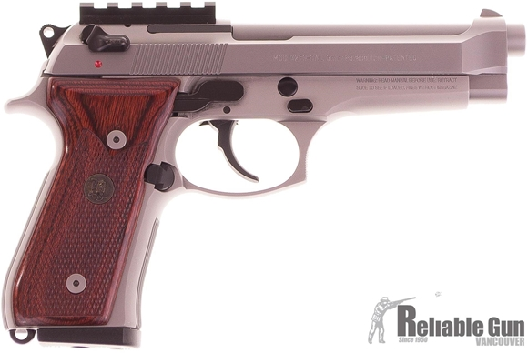 Picture of Used Beretta 92 FS Inox Semi Auto Pistol, 9mm, 5'', Silver, Pachmayr Custom Wood Laminate Checkered Grips, Rear Sight Pic Rail, 2 Magazines, Original Box, Very Good Condition
