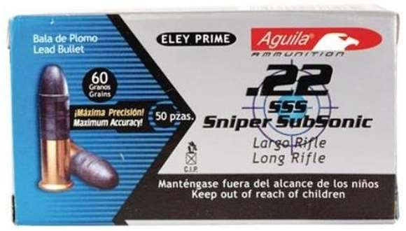 Picture of Aguila Rimfire Ammo, Special Products - 22 Sniper Subsonic/Long Rifle Subsonic Lead Solid Point, 22 LR, 60Gr, Lead Solid Point, 5000rds Case, Subsonic, 950fps