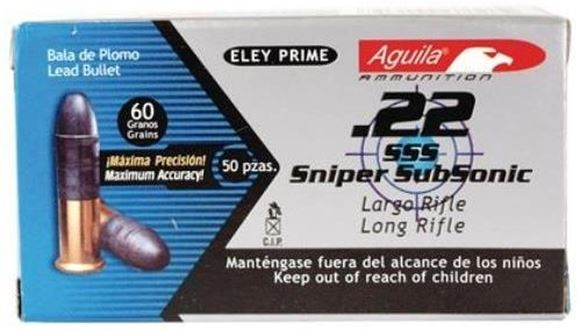 Picture of Aguila Rimfire Ammo, Special Products - 22 Sniper Subsonic/Long Rifle Subsonic Lead Solid Point, 22 LR, 60Gr, Lead Solid Point, 50rds Box, Subsonic, 950fps
