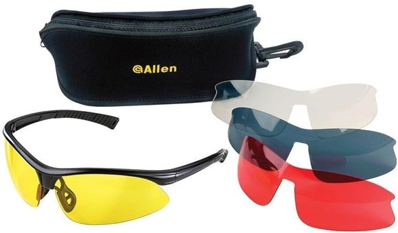 Picture of Allen Safety, Eye Protection - Pro Class Shooting Glasses, Black Frame, Clear/Yellow/Smoke/Red Lens