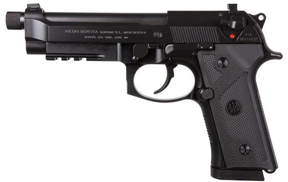 """Picture of Beretta M9 A3 DA/SA Semi-Auto Pistol - 9mm Luger, 125mm, Chrome Lined, 1/2""""x28 Threaded w/Protector, Black Oxide/PVD Finished, Steel Slide & Alloy Frame w/3-Slot Picatinny Rail, Vertec-Style Thin Grips"""