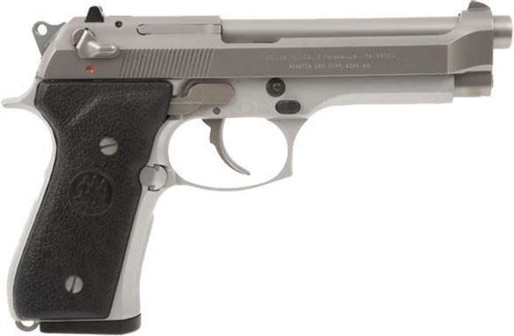 "Picture of Beretta 92 FS Inox DA/SA Semi-Auto Pistol - 9mm, 125mm (4.9""), Stainless Steel, Stainless Steel Slide, Silver Anodized Alloy Frame, Black Plastic Grips, 2x10rds, 3-Dot Sights"