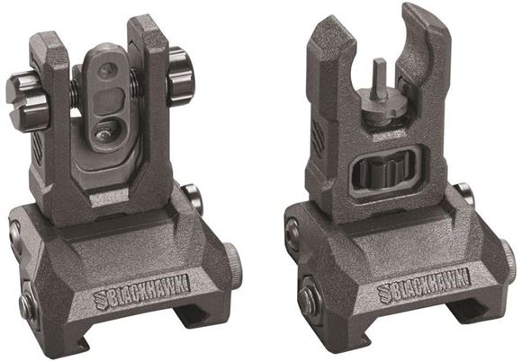 Picture of Blackhawk Long Gun Accessories - Hybrid Folding Sight, Low Profile, Adjustable Front & Rear, Black