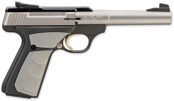 """Picture of Browning Buck Mark Camper Stainless UFX Rimfire Single Action Semi-Auto Pistol - 22 LR, 5-1/2"""", Tapered Bull, Matte Stainless, Matte Black Aluminum Alloy Receiver, Overmolded Ultragrip FX Ambidextrous Grips, 10rds, Pro-Target Adjustable Sights"""
