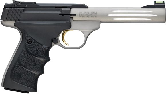 """Picture of Browning Buck Mark Lite Gray Flute Rimfire Semi-Auto Pistol - 22 LR, 5-1/2"""", Matte Gray Alloy Receiver, Steel Barrel w/ Fluted Alloy Sleeve, Ultragrip RX Black Rubber Overmolded Grip, 10rds, Fiber Optic Front & Pro-Target Rear Sights"""