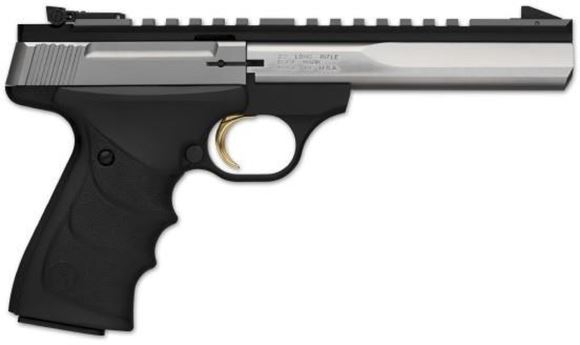 "Picture of Browning Buck Mark Contour Stainless Rimfire Semi-Auto Pistol - 22 LR, 5-1/2"", Special Contour, Polished Flat w/Full-Length Picatinny Rail, Stainless Steel, Matte Black Aluminum Alloy Frame, Ultragrip RX Ambidextrous Grip, 10rds, Pro-Target Adjustable Si"