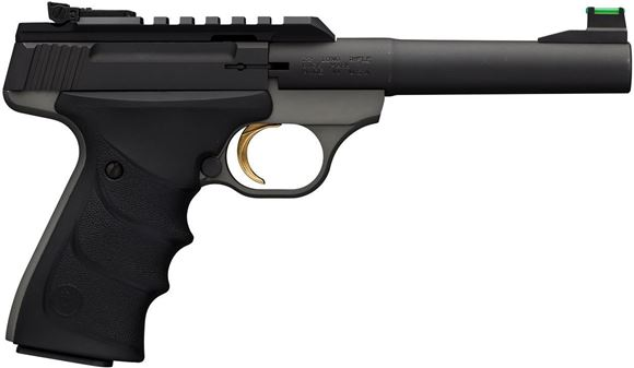 "Picture of Browning Buck Mark Plus Practical URX Semi-Auto Rimfire Pistol - 22 LR, 5.5"", Matte Gray Receiver, Soft Nitrile Rubber Grip, 10rds, TruGlo Fiber Optic Front & White Outline Pro-Target Rear Sight"