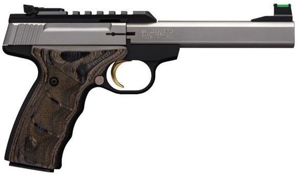 "Picture of Browning Buck Mark Plus Stainless UDX Semi-Auto Rimfire Pistol - 22 LR, 5.5"", Polished Flats Barrel, Matte Black Receiver, Black Wood Laminate Grip Panels, 10rds, Pro-Target Front & White Outline Pro-Target Rear Sight"