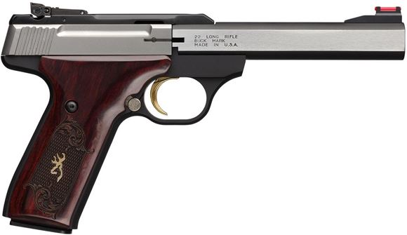 """Picture of Browning Buck Mark Medallion Rosewood Stainless Rimfire Semi-Auto Pistol - 22 LR, 5-1/2"""", Blackened Stainless Slabside Polished Flats, Rosewood Medallion Checkered Grip, 10rds, TruGlo/Marble's Fiber-Optic Front & Adjustable Pro-Target Rear Sights"""
