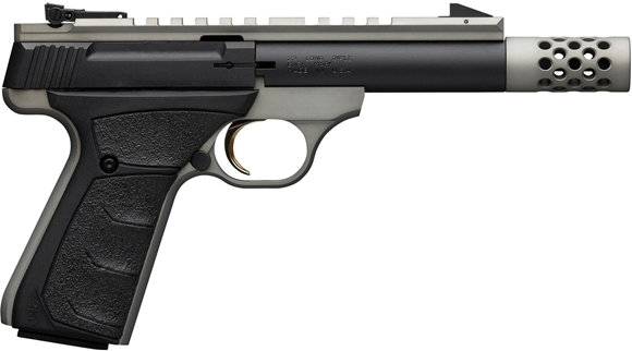 "Picture of Browning Buck Mark Field/Target Micro SR Rimfire Semi-Auto Pistol - 22 LR, 4-2/5"", Matte Black w/ Grey Anodized Frame, Aluminum Alloy Receiver, UFX Overmolded Grips, 10rds, Pro-Target Adjustable Sights, Full Length Picatinny Scope Rail, w/ Pistol Rug"