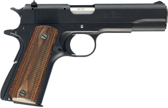 """Picture of Browning 1911-22 A1 Rimfire Single Action Semi-Auto Pistol - 22 LR, 4-1/4"""", Matte Blued Aluminium Alloy, Brown Composite Grip Panels, 10rds, Black A1 Front & Rear Sights"""