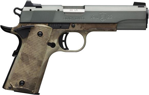 "Picture of Browning 1911-22 Black Label Speed Grey Rimfire Single Action Semi-Auto Pistol - 22 LR, 4-1/4"", Matte Grey Aluminium Alloy Slide, ATACS-AU Camo Composite Frame & Grip Panels, 2x10rds, White Dot Front & Combat Rear Sights"