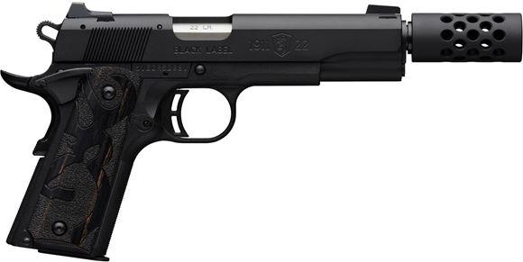 "Picture of Browning 1911-22 A1 Black Label Suppressor Ready Rimfire Single Action Semi-Auto Pistol - 22 LR, 4.875"", Matte Black Alloy Slide, Matte Black Composite Frame, White Dot Combat Sights Muzzle Brake, 2x10rds"