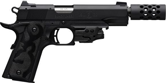 "Picture of Browning 1911-22 A1 Black Label Suppressor Ready w/Laser Rimfire Single Action Semi-Auto Pistol - 22 LR, 4-7/8"", Matte Black Alloy Slide, Matte Black Composite Frame, Crimson Trace Laser, Muzzle Brake, Rail, 10rds"