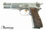 """Picture of Browning Hi-Power JMB Custom Renaissance Silver Single Action Semi-Auto Pistol - 9mm, 4-5/8"""", Nickel Plated, Floral Engraved, Hand Checkered & Carved Walnut Grips, 2x10rds, Fixed Sights, With Display Case"""