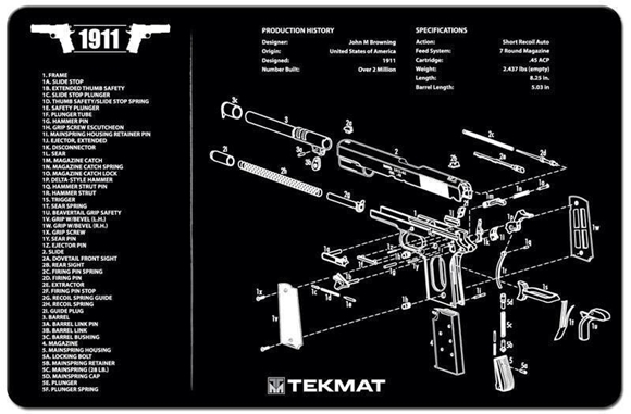 Picture of Tekmat 1911 Gunsmith's Bench Mat - Black Neoprene, with Exploded Parts View