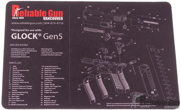 Picture of Tekmat Glock Gen 5 Gunsmith's Bench Mat - Black Neoprene, with Exploded Parts View, Reliable Gun Logo