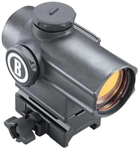 Picture of Bushnell Tactical Optics, Mini Cannon Red Dot - 1x25mm, Matte, 4 Reticle Settings, Adjustable Brightness, 1/2 MOA Click Value, Multi-Coated, Waterproof/Fogproof/Shockproof, Dry Nitrogen Filled, CR2032