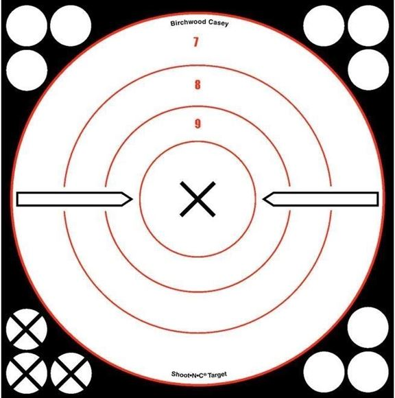 "Picture of Birchwood Casey Targets, Shoot-N-C Targets - Shoot-N-C 8"" White/Black ""X"" Bull's-Eye Target, 6 Targets"
