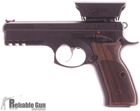 Picture of Used CZ 75 SP-01 Shadow Semi Auto Pistol, 9mm Luger, Wood Grips, Burris Fast Fire, 3x10rd, Maglula Loader, Hard Case, Good Condition
