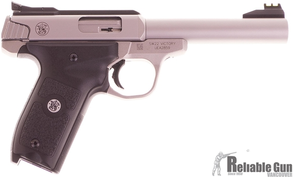 """Picture of Used Smith & Wesson Semi Auto Rimfire Pistol - SW22 Victory, 22LR, 5.5"""" Stainless Barrel, Fiber Optic Front & Adjustable Fiber Optic Rear Sight, Stainless Steel Frame, 5 Magazines, No Box, Excellent Contion"""