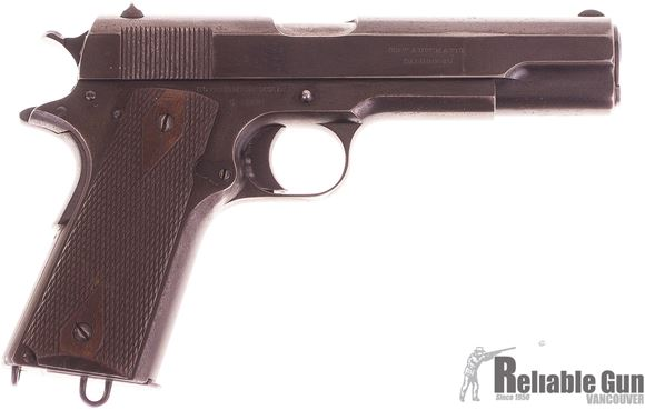 Picture of Used Colt 1911 Government Model, 45 ACP, 1914 Production, All Original, British Proof Marks, Wood Grips,  Leather Holster w/2 Magazines, Good Condition