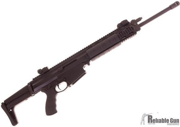 "Picture of Used Robinson Armament XCR-M Semi-Auto Rifle - 308 Win, 18.6"", Heavy Contour, 1:10, FAST Collapsable Stock, Black, Muzzle Brake, Flip-Up Sights, 1 Magazine, Hard Case, Very Good Condition"