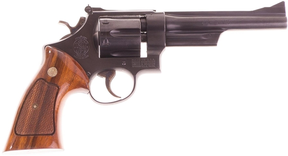 """Picture of Used Smith & Wesson 28-2 """"Highway Patrolman"""" Double-Action .357 Mag, 6"""" Barrel, Blued, 6 Shot, Wood Grips, Very Good Condition"""